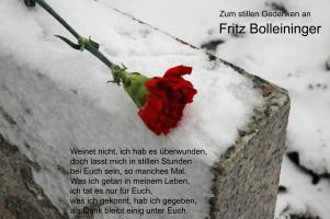 Stilles Gedenken an den am 06.12.2005 verstorbenen Genossen Friedrich Bolleininger