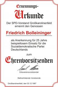 Ernennungsurkunde zum Ehrenvorsitzenden der SPD Großkarolinenfeld